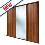 2 Door Sliding Wardrobe Doors Walnut / Mirror 2236 x 2260mm