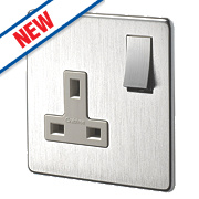Crabtree 13A 1-Gang DP Switched Socket Wht Ins Brushed Chrome