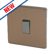 Varilight 10A 1-Gang 2-Way Rocker Switch Brushed Bronze 230V