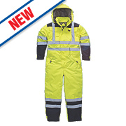"""Dickies SA7000 Hi-Vis Waterproof Safety Coverall Yellow M 42"""" Chest 30"""" L"""