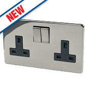Crabtree 13A 2-Gang DP Switch Socket Black Nickel