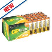GP Batteries Ultra Alkaline Batteries AA Pack of 40