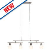 Jalena 4-Light Twin Bar LED Pendant Light Satin Chrome 16W