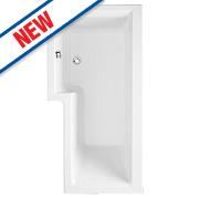 Supercast L-Shape Shower Bath RH Acrylic No Tap Holes 1675mm