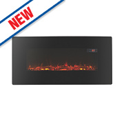 Focal Point Pasadena Black Remote Control Electric Wall Mounted or Freestanding Fire
