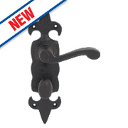 Carlisle Brass Fleur de Lys LoB Bathroom Door Handles Antique Blk 48x209mm