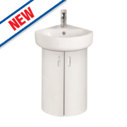 Ideal Standard Corner Basin Unit with Basin & Tap White Gloss 380 x 385 x 252mm