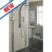 Bristan Prism Thermostatic Inline Pole Mixer Shower Exposed Black/Chrome