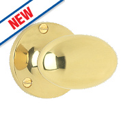 Smith & Locke Oval Mortice Knobs Pair Polished Brass 55mm