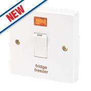 Crabtree 20A 1G Fridge Freezer Switch & Neon White Pack of 10
