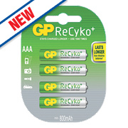GP Batteries ReCyko+ Rechargeable Batteries AAA Pack of 4