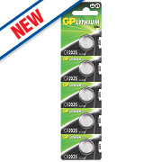 GP Batteries Lithium Coin Cell Batteries 2025 Pack of 5