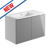 2-Drawer Vanity Unit & Basin White / Lava Grey Gloss 900 x 446 x 585mm