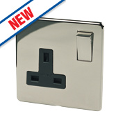 Crabtree 13A 1-Gang DP Switch Socket Black Nickel