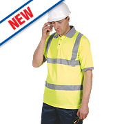 """Dickies Hi-Vis Safety Polo Shirt Yellow X Large 48-50"""" Chest"""