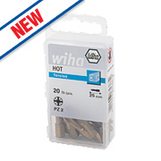 Wiha Hot Torsion Pozi Bit Box PZ #2 x 25mm Pack of 20