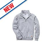 """Carhartt ¼ Zip Mock Neck Sweatshirt Heather Grey Medium 46"""" Chest"""