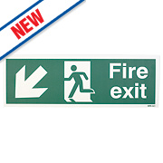 "Nite Glo ""Fire Exit"" Down Left Arrow Sign 150 x 450mm"