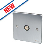 Schneider Electric 1-Gang TV / FM Coaxial Socket Brushed Chrome