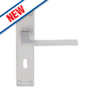 Serozzetta Zone LoB Lock Door Handles Pair Satin Chrome