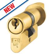 Eurospec 5-Pin Keyed Alike Euro Cylinder Thumbturn Lock 50-50 (100mm) Polished Brass