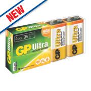 GP Batteries Ultra Alkaline Batteries 9V Pack of 4