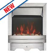 Focal Point Lulworth Modern LED Electric Fire Stainless Steel 2kW
