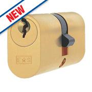 Eurospec Keyed Alike Oval Cylinder Lock 30-30 (60mm) Polished Brass