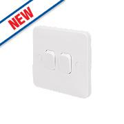 Schneider Electric 2-Gang 2-Way 10AX Switch White