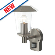 Lighthouse Brushed Stainless Steel Wall Light with PIR 40W