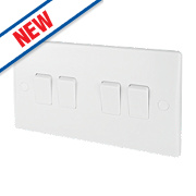 Schneider Electric 4-Gang 2-Way 10AX Light Switch White