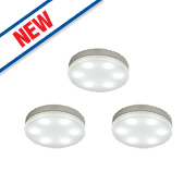 Saxby Marci LED Round Cabinet Display Light Kit Opal & Silver Pack of 3