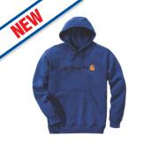 Carhartt Signature Logo Hooded Sweatshirt Cobalt Blue X Large 56