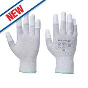 Portwest Anit-Static PU Fingertip Gloves Grey/White Large