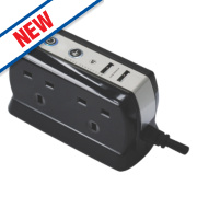 Masterplug 4-Gang Surge-Protected Extension Lead + 2 x 2.1A USB Charger 1m