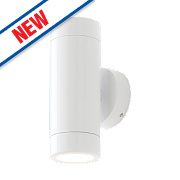Cave Gloss White Wall Light 2 x 35W
