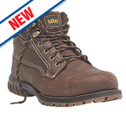 Site Clay Safety Boots Dark Brown Size 8