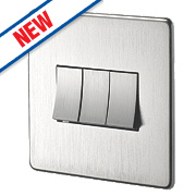 Crabtree 3-Gang 2-Way Switch Brushed Chrome
