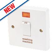 Crabtree 20A 1G Washing Machine Switch & Neon White Pack of 10
