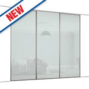 Spacepro 3 Door Framed Glass Sliding Wardrobe Doors White Glass 2692 x 2260mm