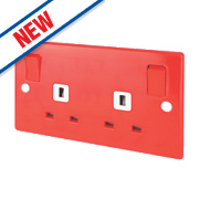 Schneider Electric Ultimate 2-Gang 13A DP Switched Socket Red