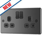 LAP 13A 2-Gang SP Switched Plug Socket Black Nickel