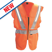 "Fhoss Contego Illuminated Hi-Vis Vest Orange Small / Medium 38-42"" Chest"