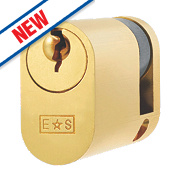Eurospec 5-Pin Keyed Alike Single Oval Cylinder Lock 45mm Polished Brass