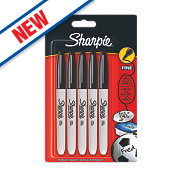 Sharpie Permanent Markers Black Pack of 5