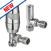 Pegler Terrier TRV with Lockshield 15mm Angled Mixed Chrome