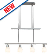 Jalena 4-Light Bar LED Pendant Light Satin Chrome 16W