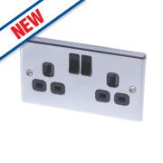 LAP 13A 2-Gang SP Switched Plug Socket Polished Chrome