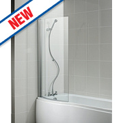 Ideal Standard Alto Curved Bath Screen Frameless Silver/Clear 828 x 1419mm