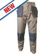 """JCB TradeMaster Work Trousers Sand/Black 38"""" W 32"""" L"""